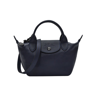 Navy Le Pliage Cuir Mini Top Handle (20% Off Rental)