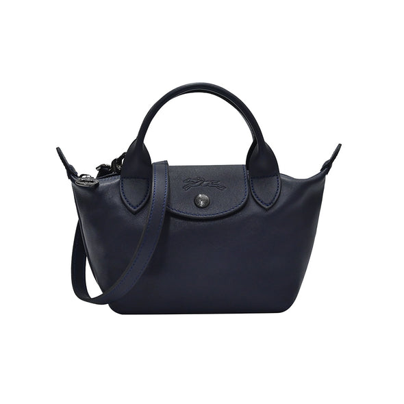 Navy Le Pliage Cuir Mini Top Handle