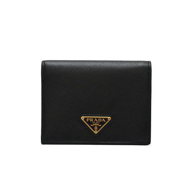 Nero Saffiano Triangle Small Leather Wallet (Rented Out)