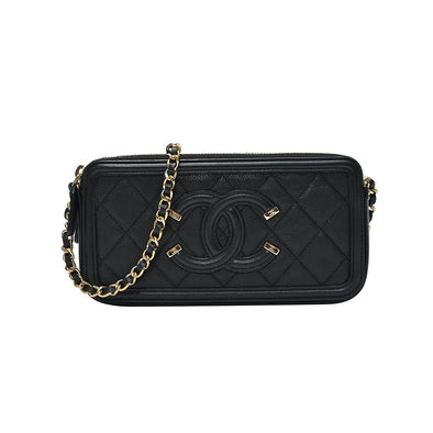 Black Caviar Filigree Clutch with Chain (Rented Out)