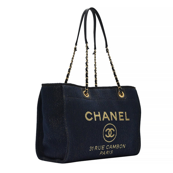 Navy Blue Glitter Deauville Shopping Tote (Rented Out)