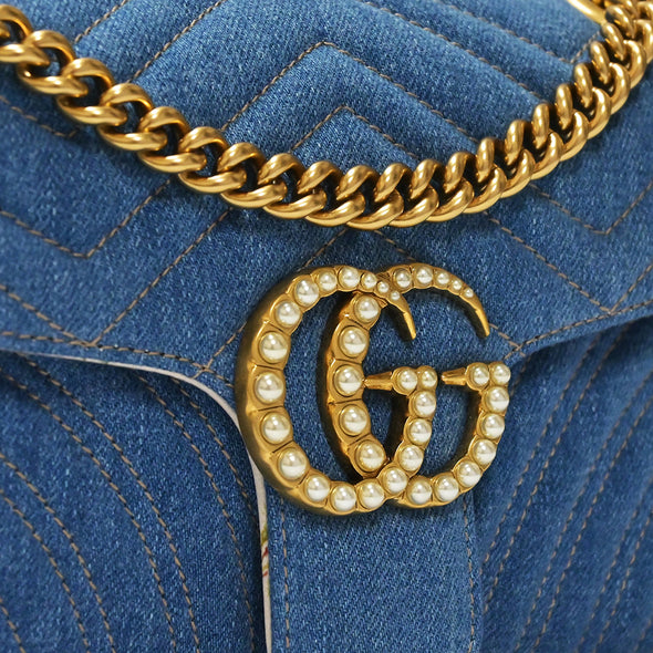Pearly Blue GG Marmont Denim Small Shoulder Bag (Rented Out)