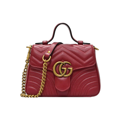 Red GG Marmont Matelasse Mini Top Handle