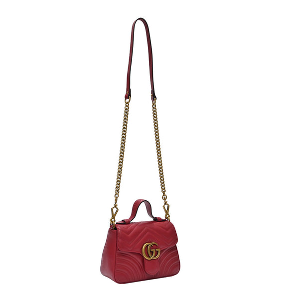 Red GG Marmont Matelasse Mini Top Handle (20% Rental Promotion)