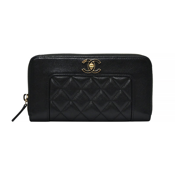 Black CC Logo Nappa Zip Around Wallet