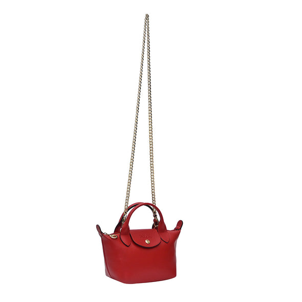 Vermilion Le Pliage Cuir Webbing Mini Bag
