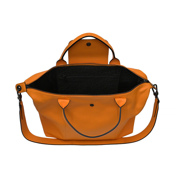 Orange Le Pliage Cuir Medium Shopping Tote (Logo Strap)