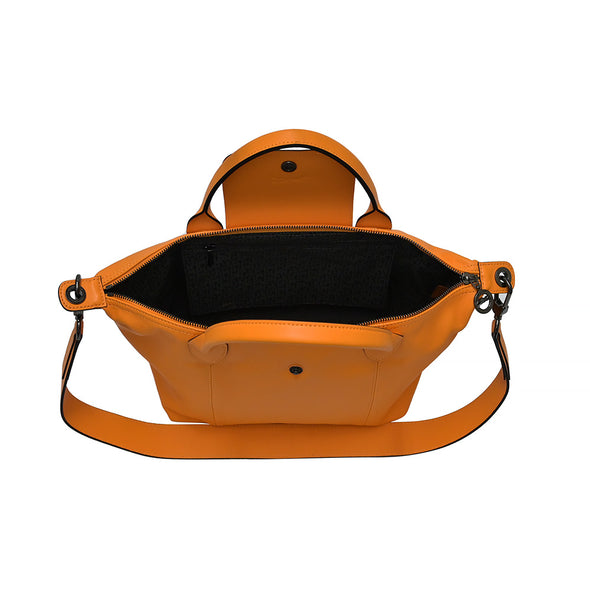 Orange Le Pliage Cuir Shopping Tote (Logo Strap)