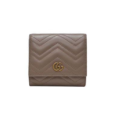 Dusty Pink GG Marmont Matelasse Compact Wallet