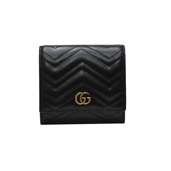 Black GG Marmont Matelasse Compact Wallet