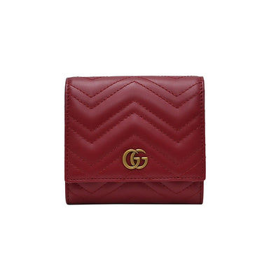 Rosso GG Marmont Matelasse Compact Wallet