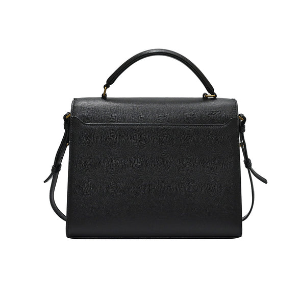 Black Grain De Poudre Cassandra Medium Top Handle