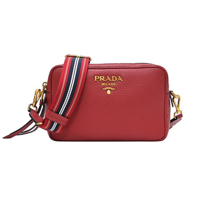 Rosso Double Strap Vitello Daino Shoulder Bag