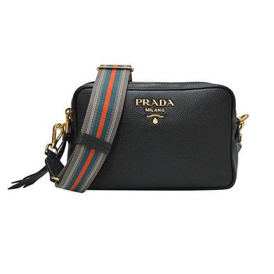 Nero Double Strap Vitello Daino Shoulder Bag