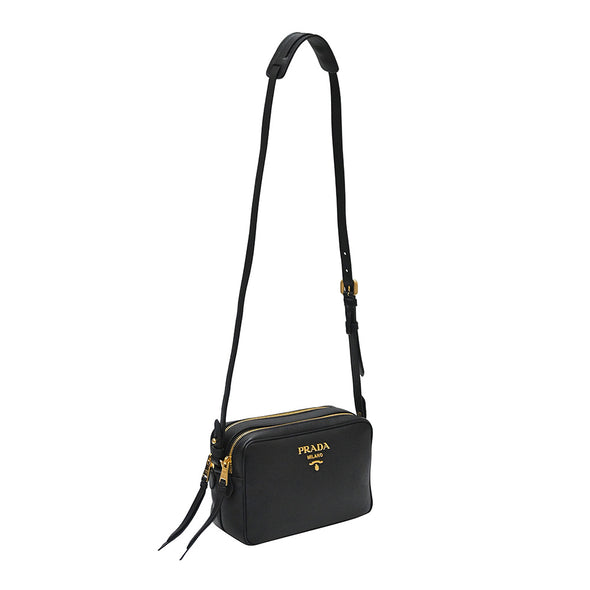 Nero Double Strap Vitello Daino Shoulder Bag (Rented Out)