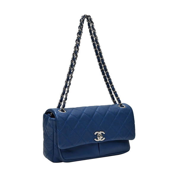Blue Calfskin Leather Flap Bag (Rented Out)