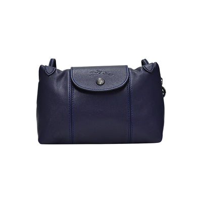 Navy Le Pliage Cuir Crossbody Bag (Gunmetal Hardware) (Rented Out)