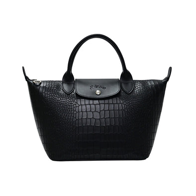 Croc-Effect Cowhide Le Pliage Cuir Top Handle S (20% Off Rental) (Rented Out)
