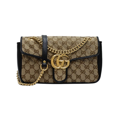 Black GG Canvas Small Shoulder Bag (Rented Out)