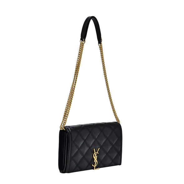 Black Becky Quilted Lambskin Chain Wallet (Rented Out)