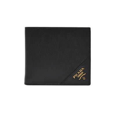 Nero Saffiano Goldtone Metal Logo Men's Bifold Wallet (Rented Out)