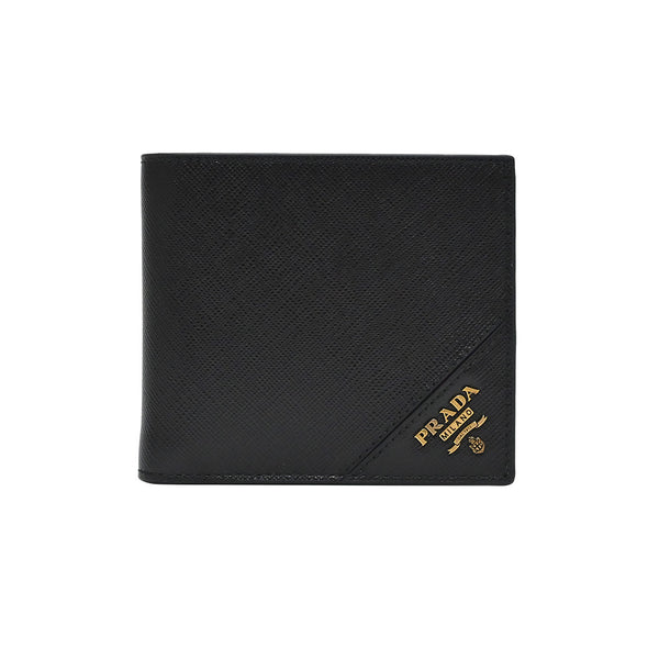 Nero Saffiano Goldtone Metal Logo Men's Bifold Wallet - 2 (Rented Out)