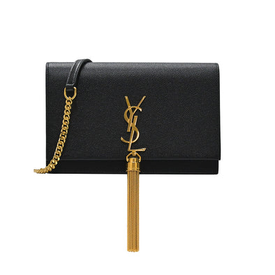 Black Kate Tassel Grain De Poudre Leather Chain Wallet