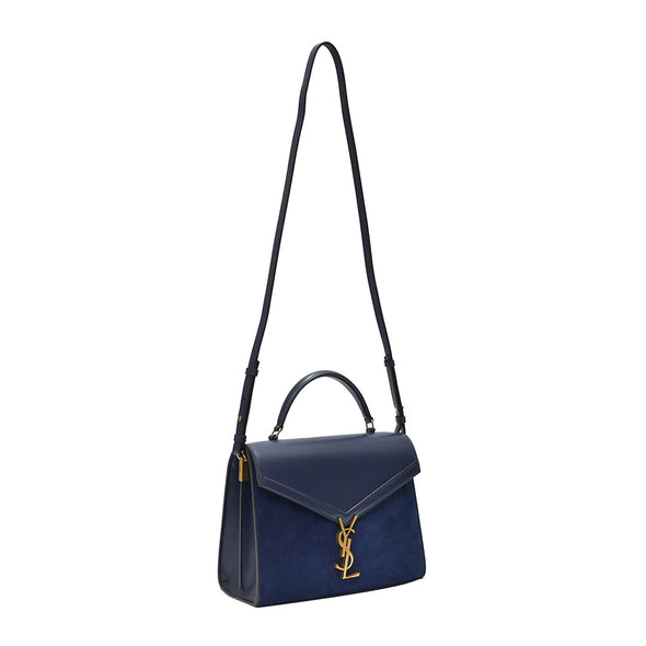 Blue Smooth Leather and Suede Cassandra Medium Top Handle