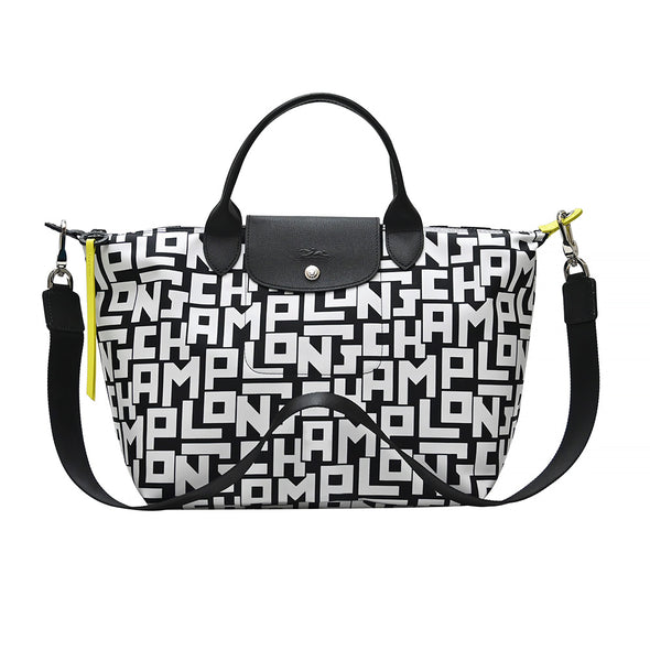 Black White Le Pliage LGP Top Handle M