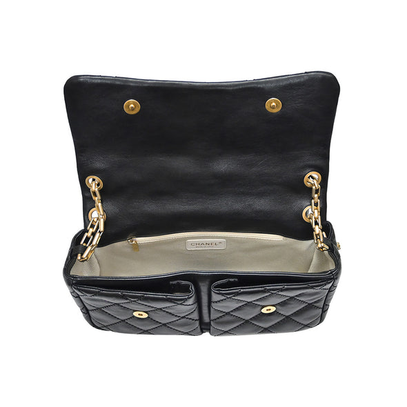 Black Vintage Nappa Goldtone Flap Bag