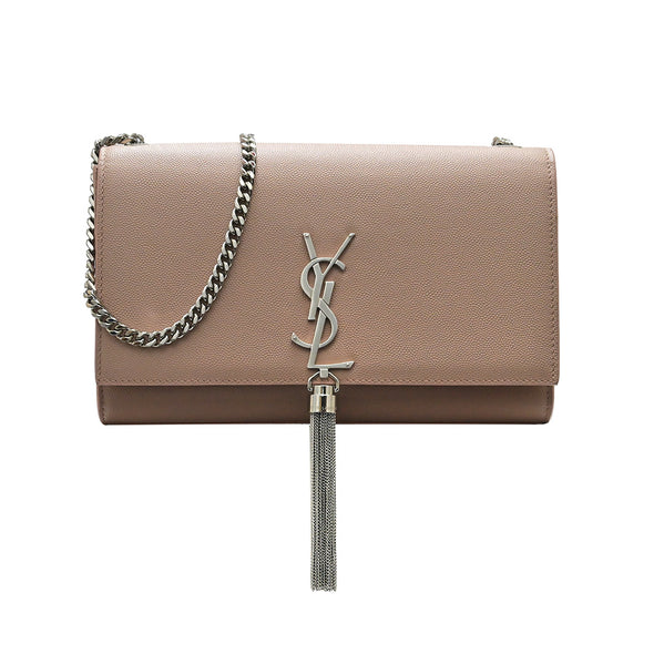 Beige Grain De Poudre Medium Kate Clutch With Tassels (Rented Out)