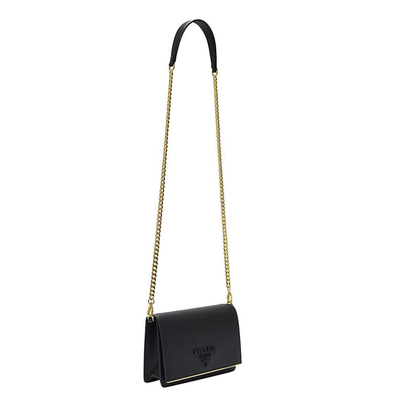 Nero Saffiano Lux Small Shoulder Bag (Rented Out)