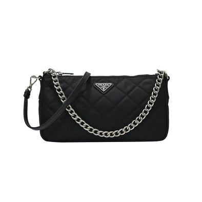 Nero Quilted Tessuto Chain Sling Bag (Rented Out)