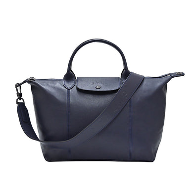 Navy Le Pliage Cuir Medium Shopping Tote (Logo Strap)