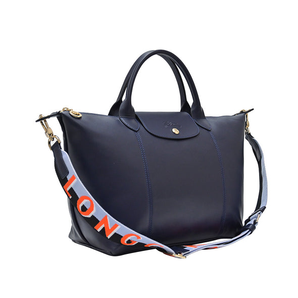 Navy Le Pliage Cuir Webbing Top Handle M - 2