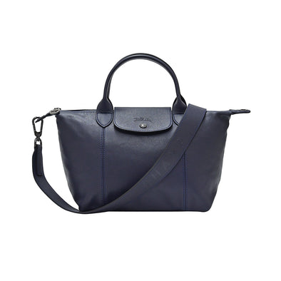 Navy Le Pliage Cuir Shopping Tote (Logo Strap)