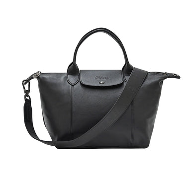 Noir Le Pliage Cuir Shopping Tote (Logo Strap) (Rented Out)