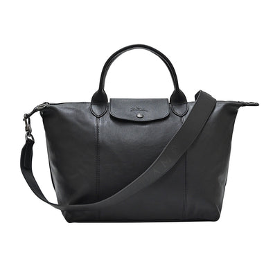 Noir Le Pliage Cuir Medium Shopping Tote (Logo Strap)