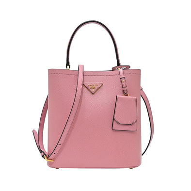 Rose Saffiano Leather Panier Medium Bag (20% Rental Promotion)