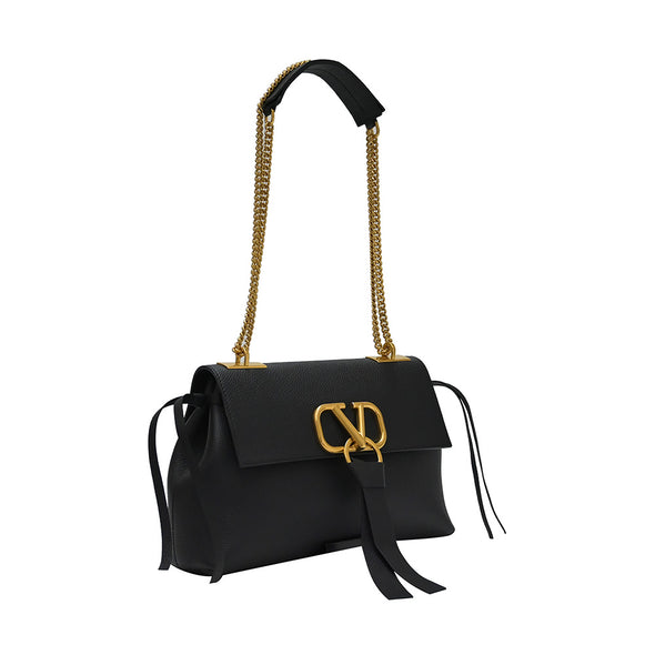 Black Vsling Grained Leather Crossbody Chain Bag