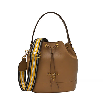 Caramel Double Strap Vitello Daino Bucket Bag (Rented Out)