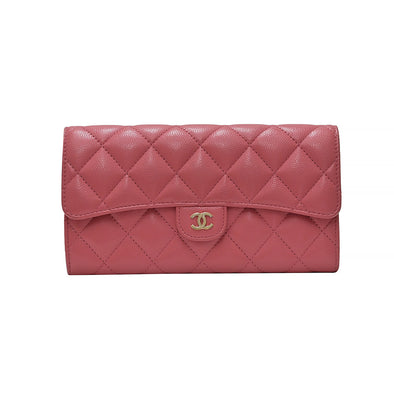 Pink Classic Caviar Flap Long Wallet (Rented Out)