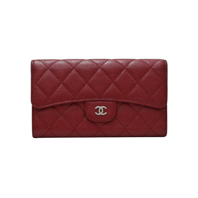 Red Classic Caviar Flap Wallet (Rented Out)