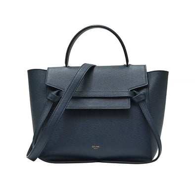 Navy Grained Calfskin Micro Belt Bag