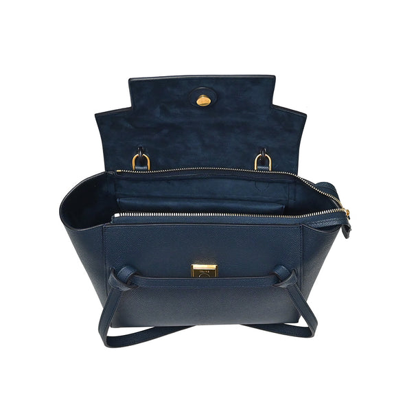 Navy Grained Calfskin Micro Belt Bag (Rented Out)