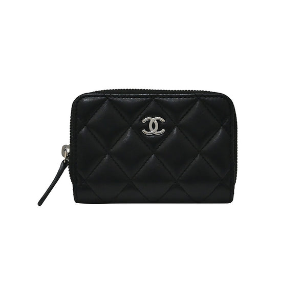 Black Nappa Classic Zipped Coin Purse (Rented Out)