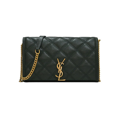Dark Green Becky Quilted Lambskin Chain Wallet (Rented Out)