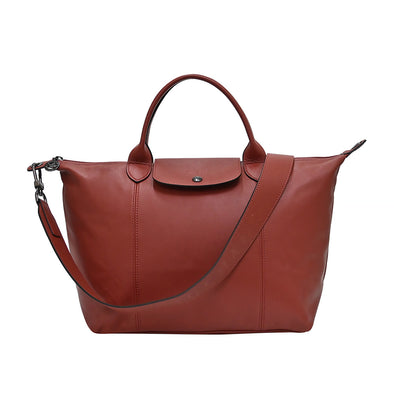 Sienna Le Pliage Cuir Medium Shopping Tote (Logo Strap) (Rented Out)