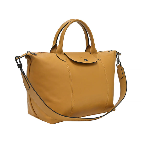 Honey Le Pliage Cuir Medium Shopping Tote (Logo Strap)