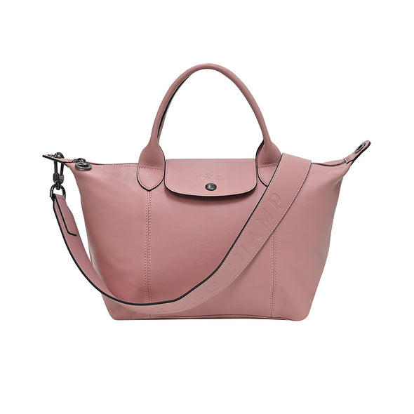 Antique Pink Le Pliage Cuir Shopping Tote (Logo Strap)